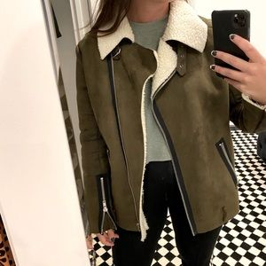 J.O.A | green suede faux jacket